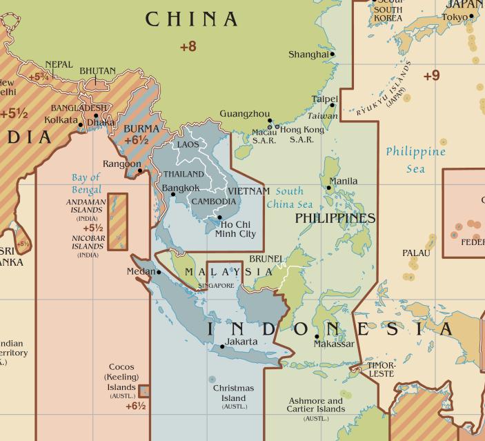 マレー半島だけが異常に飛び出ている。 ウィキペディアより