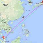 マレーシアの地図をイラストでみる : 飛行機が曲がって飛んで行くのは?