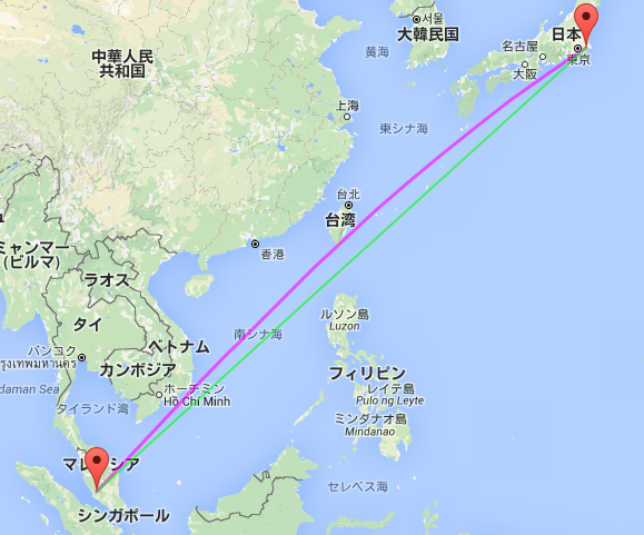 日本(成田)ーマレーシア(クアラルンプール) : 大圏航路(紫)と等角航路(緑)