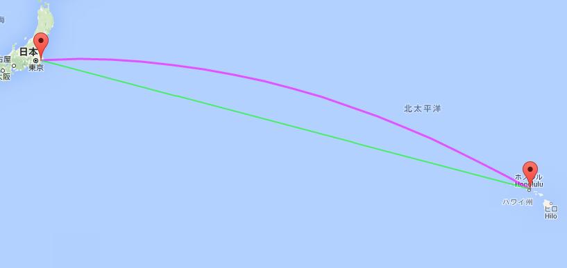 日本(成田)ーハワイ(ホノルル) : 大圏航路(紫)と等角航路(緑)