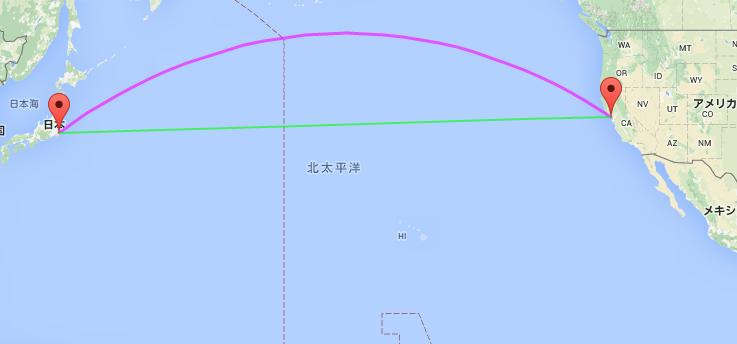 日本(成田)-アメリカ(サンフランシスコ) : 大圏航路(紫)と等角航路(緑)