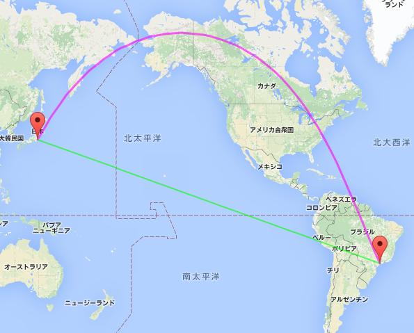 日本(成田)-ブラジル(サンパウロ) : 大圏航路(紫)と等角航路(緑)