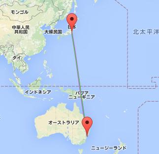 日本(成田)-オーストラリア(シドニー) : 大圏航路(紫)と等角航路(緑)