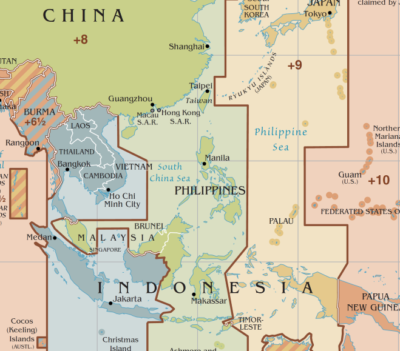 タイムゾーンの地図:ウィキペディアより