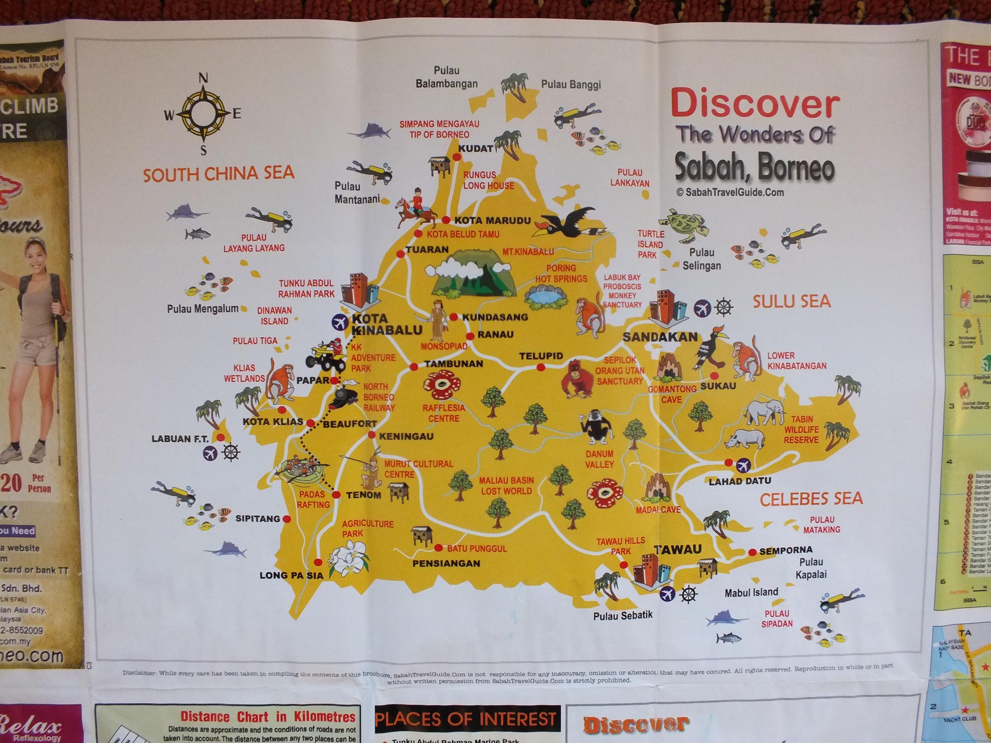 サバ州イラストマップ : 空港、ダイビングスポット、 テングザルのいる場所など