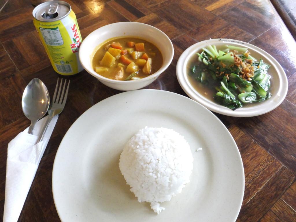 白ご飯とカレーと野菜炒め RM20.5 グヌン・ムル国立公園 2014.2.13 昼