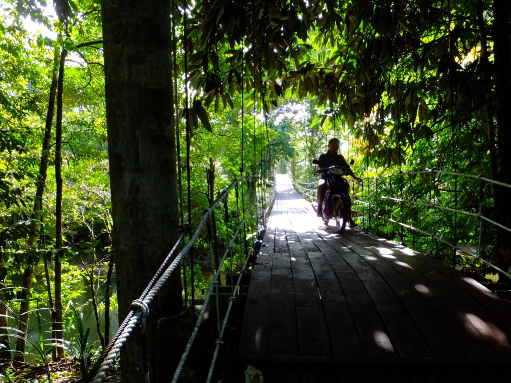 橋を渡って公園外に出る 2017.2.15 グヌンムル国立公園