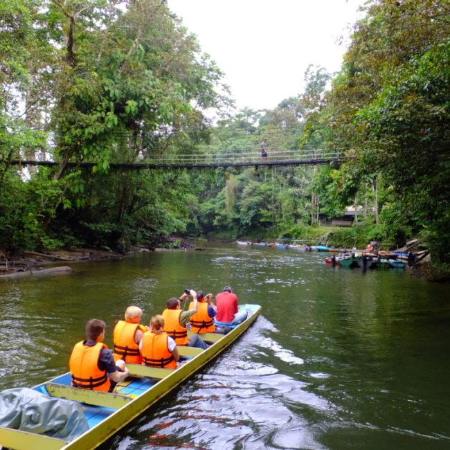 ボートで川を遡る